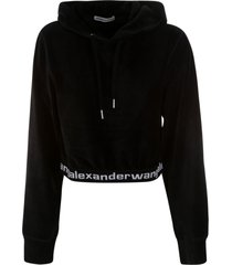 t by alexander wang stretch corduroy cropped ls hoodie