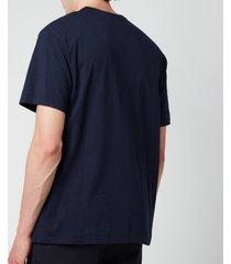 maison kitsuné men's tricolour fox patch classic pocket t-shirt - navy - xxl