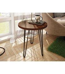mesa lateral redonda iron com pé de ferro 450 havana-líder design