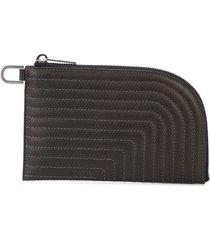 rick owens contrast stitched wallet - black