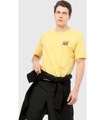 camiseta amarillo adidas originals bordada diagonal