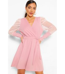 dobby sleeve wrap skater dress, rose