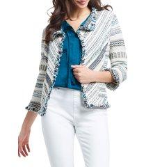 petite women's nic+zoe shake it up fringe jacket, size xx-large - ivory