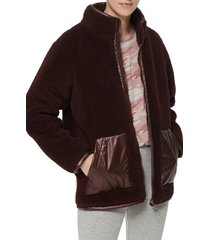 women's marc new york mixed media faux shearling jacket, size large - burgundy