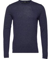 newman-perfect merino gebreide trui met ronde kraag blauw j. lindeberg