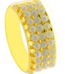 aliança horus import tripla banhada ouro amarelo 18 k dourado - kanui