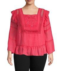 nanette nanette lepore women's plus embroidered squareneck top - cameo rose - size 2x (18-20)