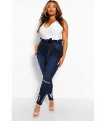 plus versleten skinny jeans met hoge taile en ceintuur, indigo