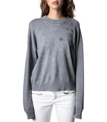 women's zadig & voltaire gaby strass stars wool & cashmere sweater, size small - grey