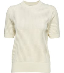 micro lace solid c-nk swtr t-shirts & tops knitted t-shirts/tops crème calvin klein