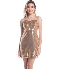 vestido para noite ralm paetê dourado