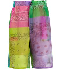duoltd bandana print deck shorts - green