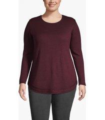 lane bryant women's cable trim tunic sweater 26/28 winetasting