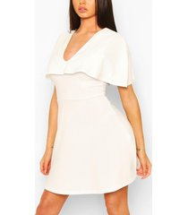 plunge neck cape skater dress, white