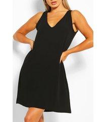 geweven mouwloze jurk met v-hals, zwart