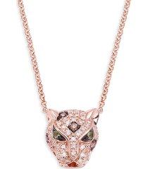 effy women's 14k rose gold, diamond & green sapphire panther pendant necklace