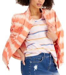 style & co petite tie-dyed twill jacket, created for macy's