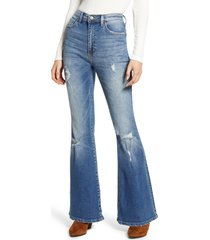 women's lee distressed high waist flare jeans