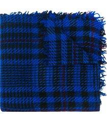 faliero sarti fine knit check scarf - blue