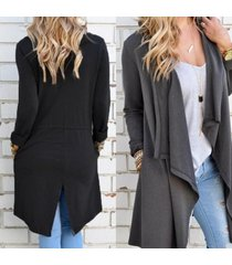 women waterfall long cardigans top trench duster coat jacket plus