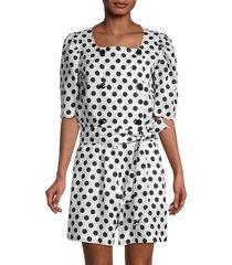 lisa marie fernandez women's diana linen polka dot romper - white black - size s