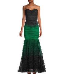 tadashi shoji women's strapless ombre mesh mermaid gown - moss ombre - size 6