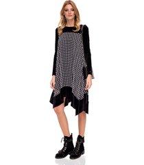 sukienka asymetryczna z aksamitnymi rękawami