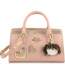 love moschino designer handbags, pink & gold eco leather small tote bag w/charm