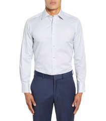 men's big & tall david donahue trim fit dot dress shirt, size 18.5 - 34/35 - white