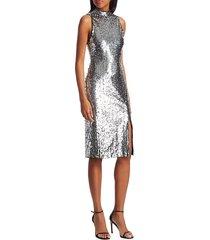 alice + olivia women's malika embellished sequin mockneck dress - silver - size 0