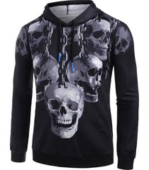 skull chain print kangaroo pocket hoodie