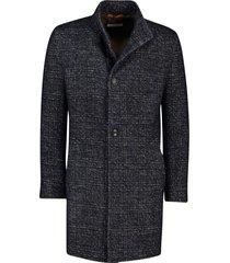 bugatti jas wol marineblauw geruit lang