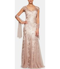 alex evenings embellished-lace embroidered illusion gown & shawl