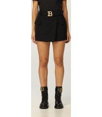 balmain skirt balmain short wool skirt with belt