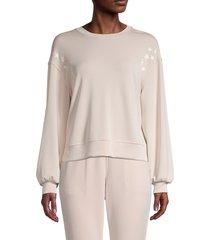 t tahari women's star graphic sweatshirt - nude - size s