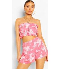 floral print frill bardot top & shorts co-ord set, coral