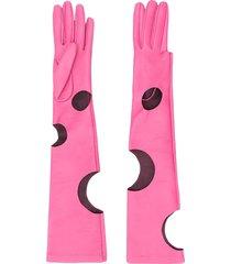 manokhi long cut-out detail gloves - pink