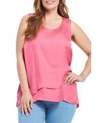 plus size women's nic+zoe destination layered hem sleeveless top, size 2x - pink