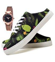 tênis mule sapatênis casual fashion com relógio gold feminino dubuy 314el verde