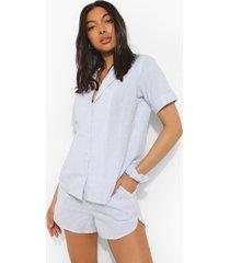 tall pyjama set met gestreepte top, shorts en haarelastiek, blue