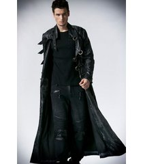 men leather coat winter long  leather coat genuine real leather trench coat-uk16