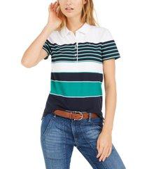 tommy hilfiger banner-stripe polo shirt