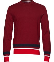 color block cotton w gebreide trui met ronde kraag rood calvin klein