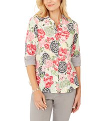 foxcroft taylor wrinkle-free cotton shirt, size 12p in multi at nordstrom