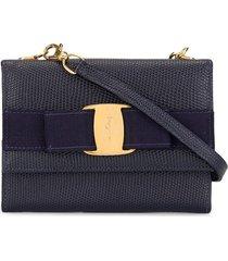 salvatore ferragamo pre-owned vara bow wallet bag - black