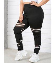 yoins plus leggings de retales de malla a rayas de tamaño