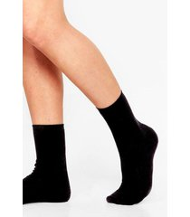 womens we feet again ribbed ankle socks - black
