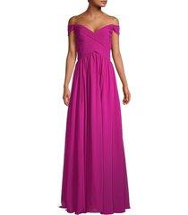 basix black label women's pleated long dress - magenta - size 4