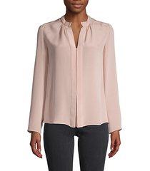 split neck pullover silk blouse