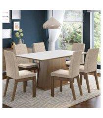 conjunto sala de jantar madesa rebeca mesa tampo de madeira com 6 cadeiras rustic/branco/fendi rustic